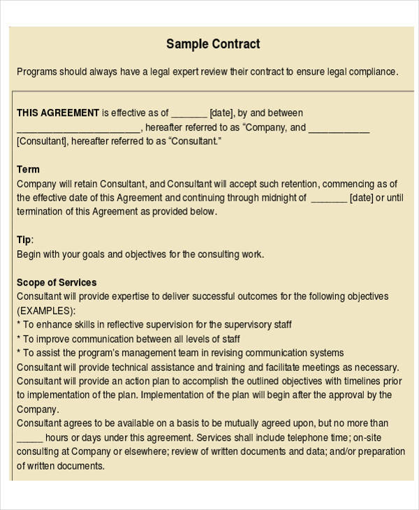 professional consulting agreement contract