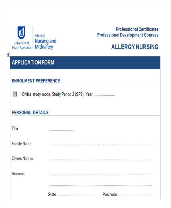 professional development course application form