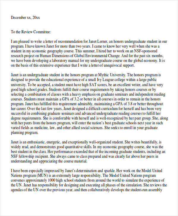 free 7  graduate school recommendation letter templates in