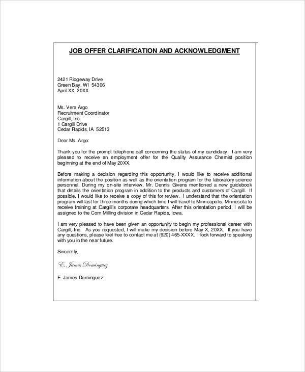 professional job letter
