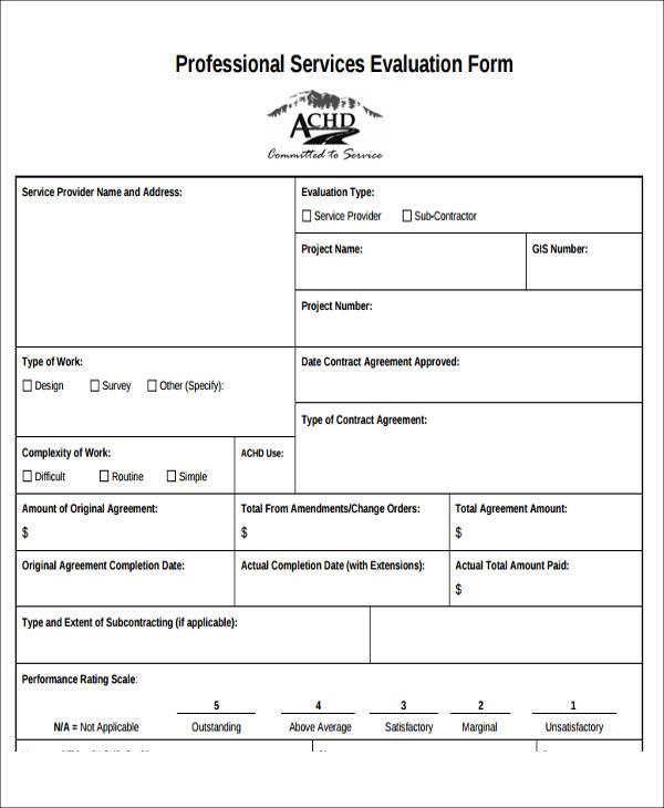 professional service provider evaluation form