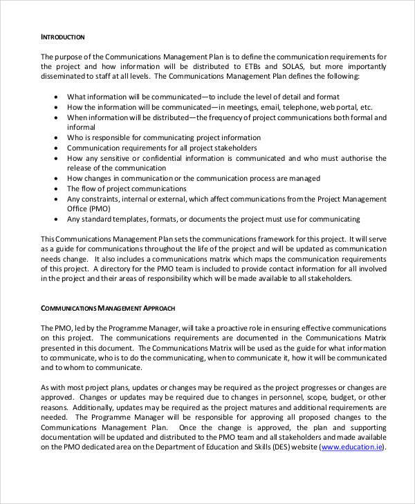 program communication management plan