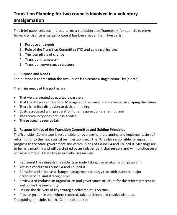 program management transition plan