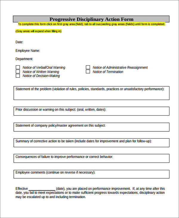 progressive disciplinary action form1