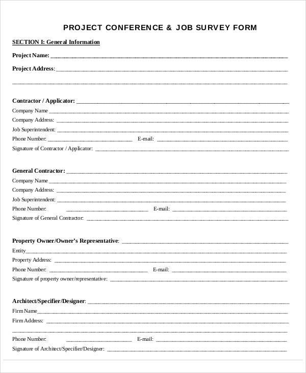 project conference survey form