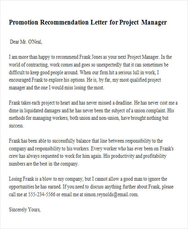 Promotion Recommendation Letter For Project Manager. Livecareer.com