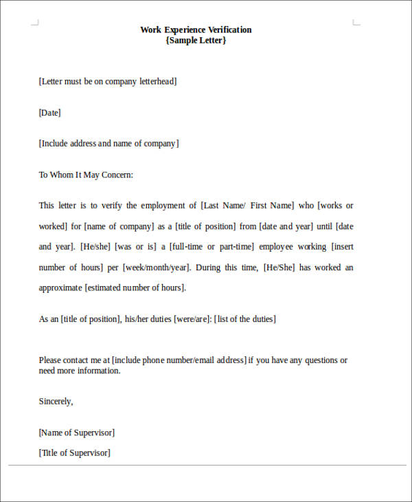 22 work letter samples sample templates proof of work experience verification letter spiritdancerdesigns Image collections