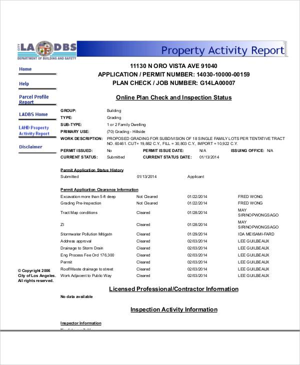 property activity report example