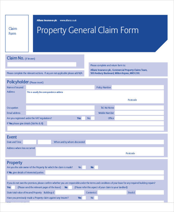 property general claim form