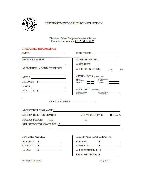 property insurance claim form