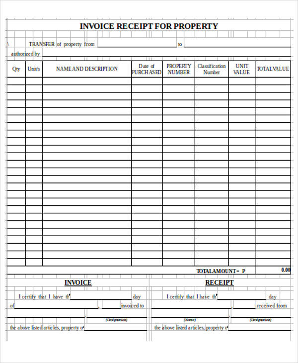 property invoice receipt form