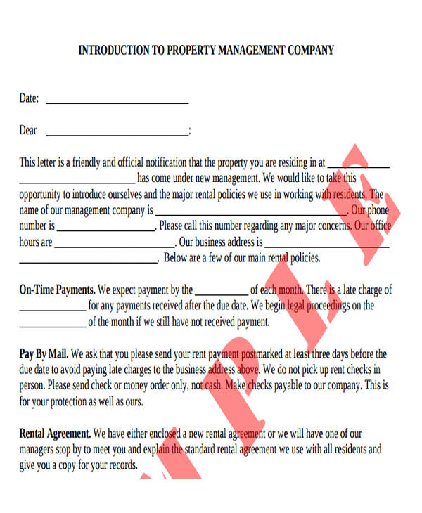 new property management introduction letter