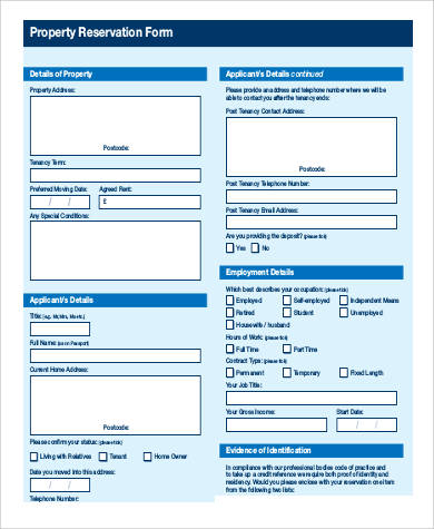 property reservation form
