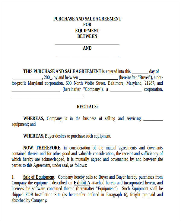 purchase and sale agreement form1