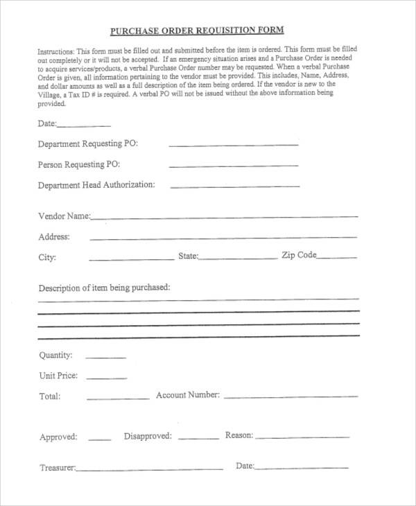 purchase order requisition form