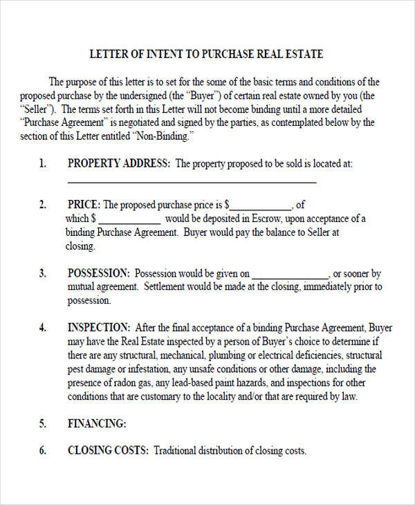 purchase real estate letter of intent