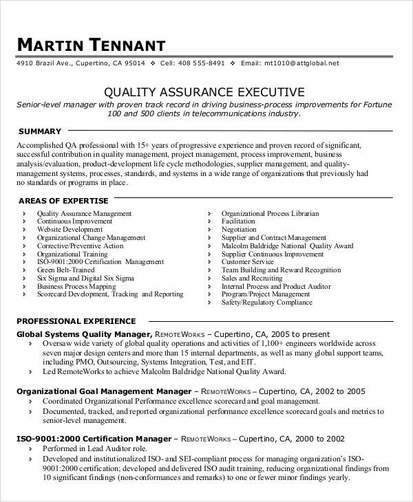 9 sample quality assurance resumes sample templates