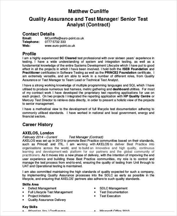 free 9  sample quality assurance resume templates in ms