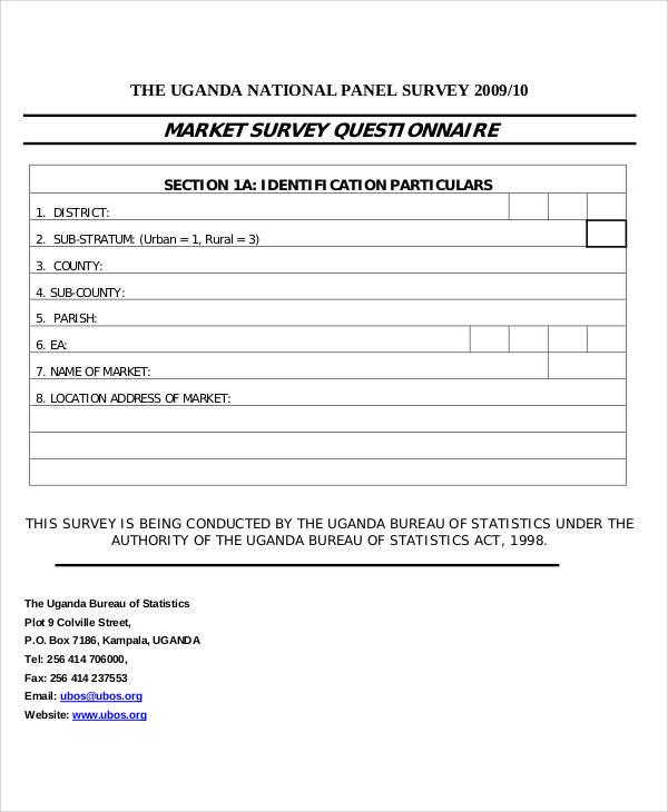 sample questionnaire format for survey