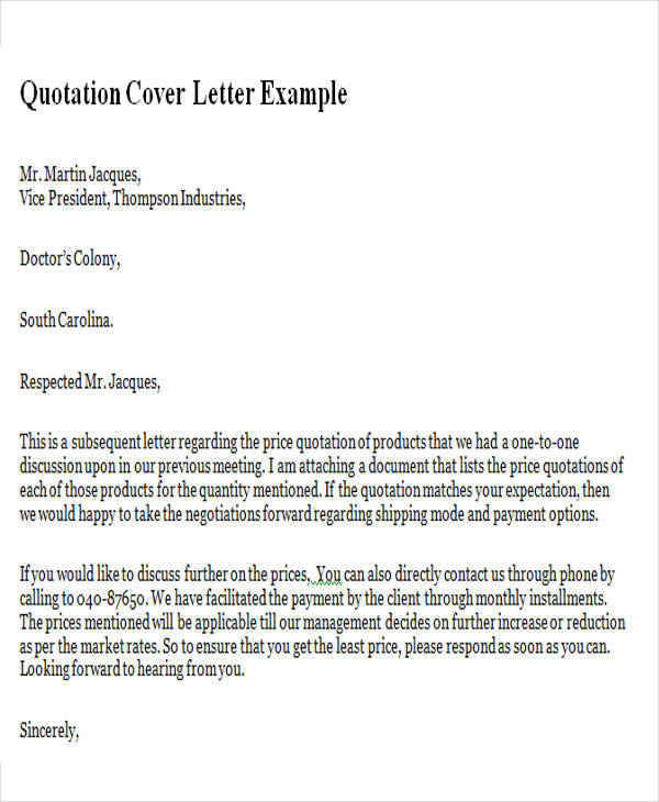 Sample Quotation Letter In Doc   Examples In Word