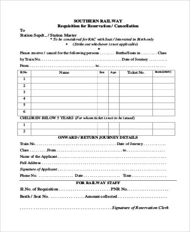railway reservation cancellation form