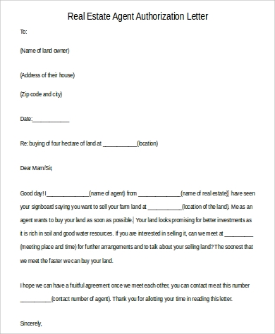 real estate agent authorization letter