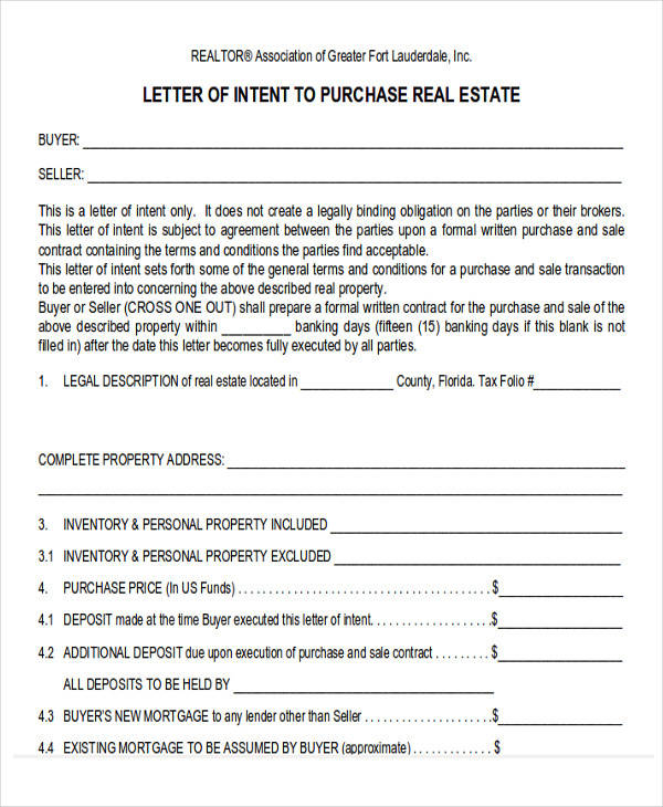 60 sample letter of intent Lenders for land purchase