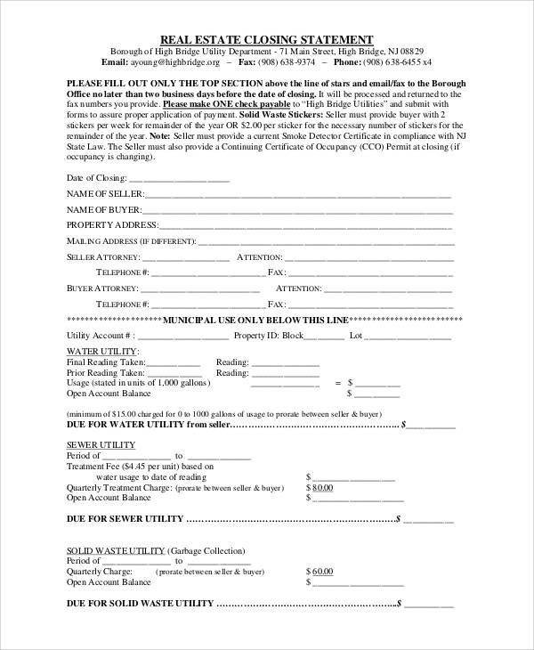 real estate closing statement form