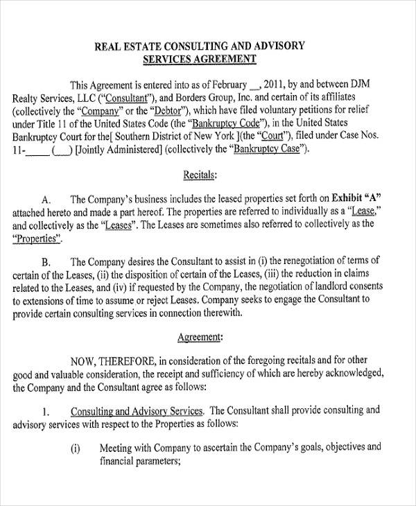 real estate consulting agreement form