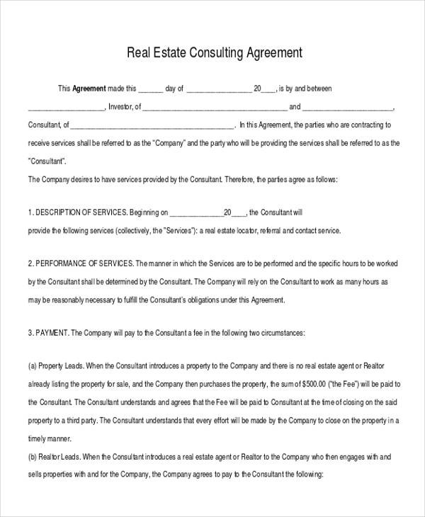 real estate consulting and advisory agreement