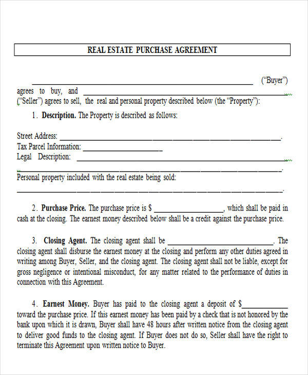 real estate purchase agreement form3