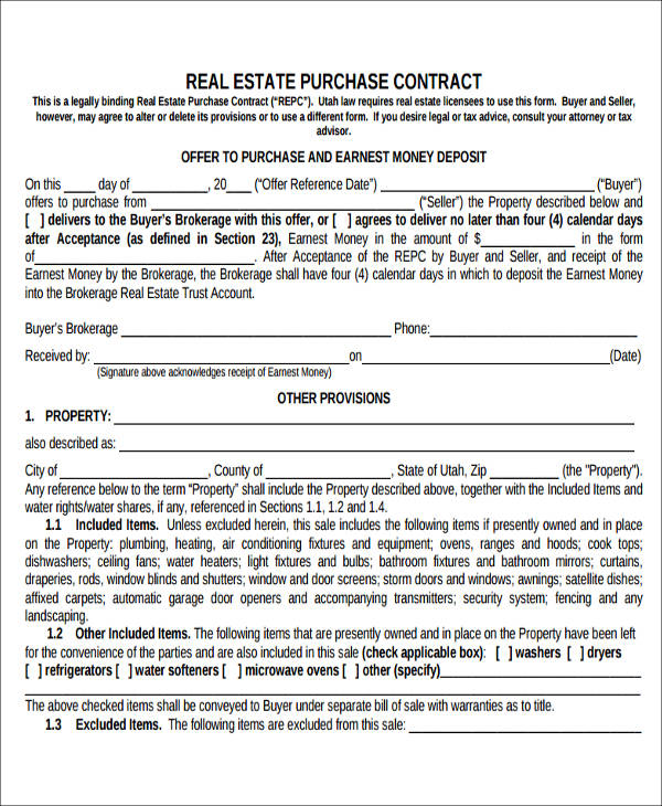 real estate purchase agreement form5