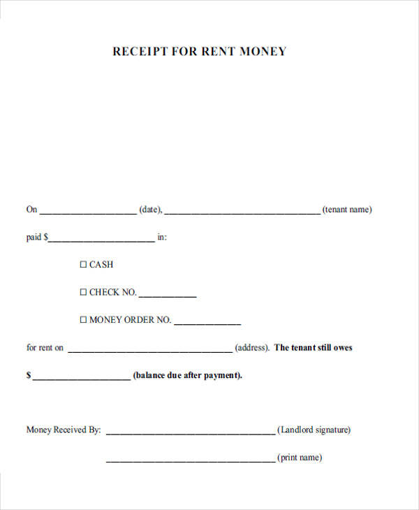 receipts for rent money example