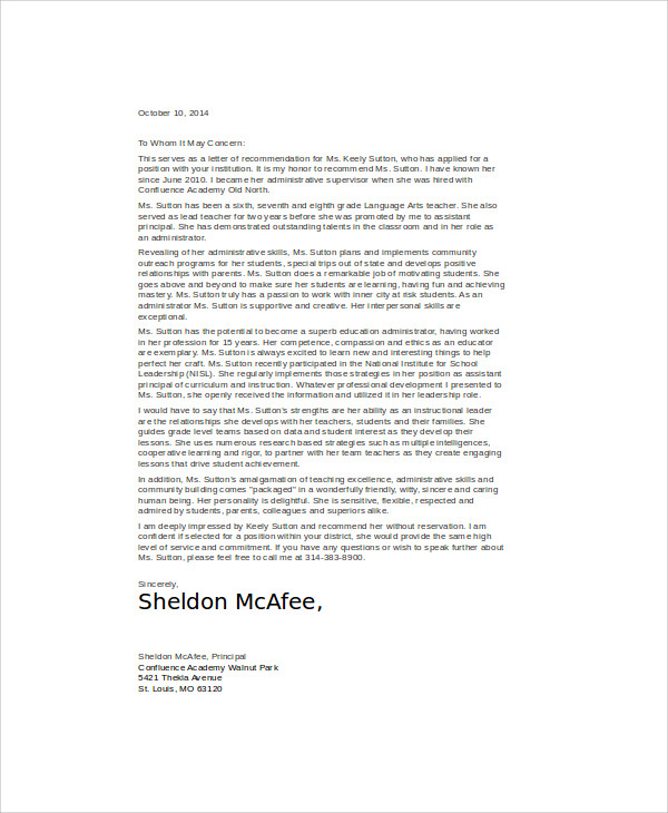 recommendation job letter examples2