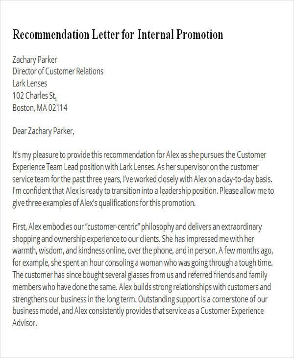 recommendation letter for internal promotion