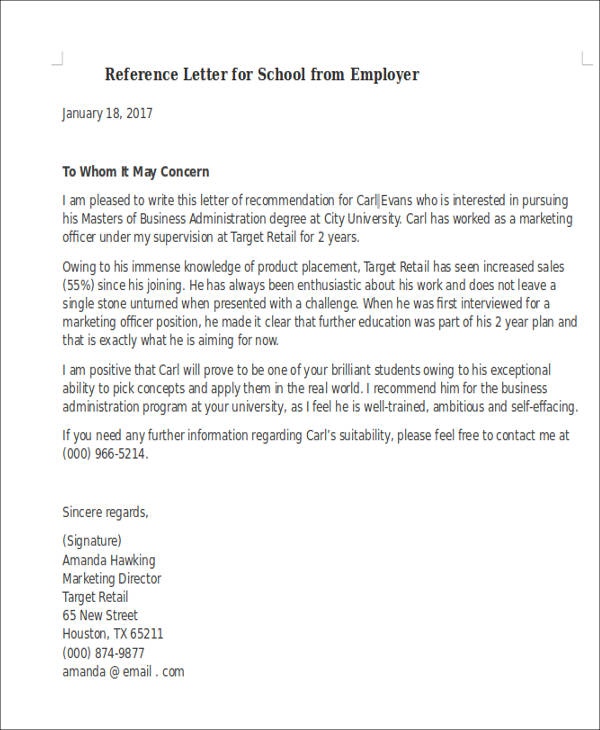 reference letter for school from employer1