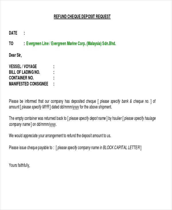refund cheque request letter
