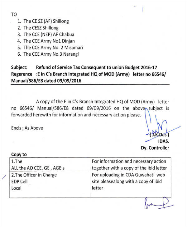 refund of service tax letter