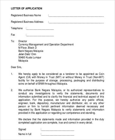 registered business application letter
