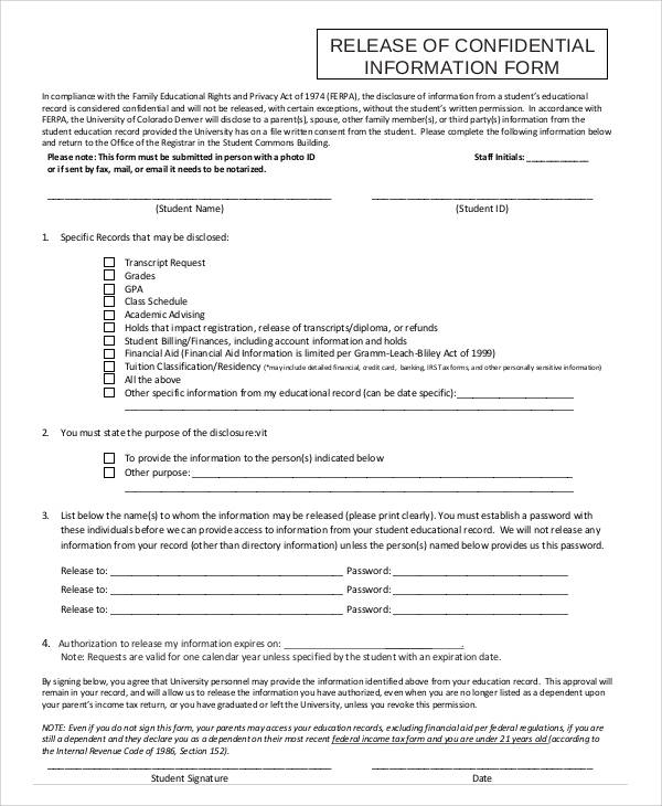 release of confidential information form