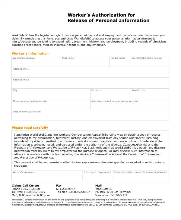 Release Of Personal Information Form