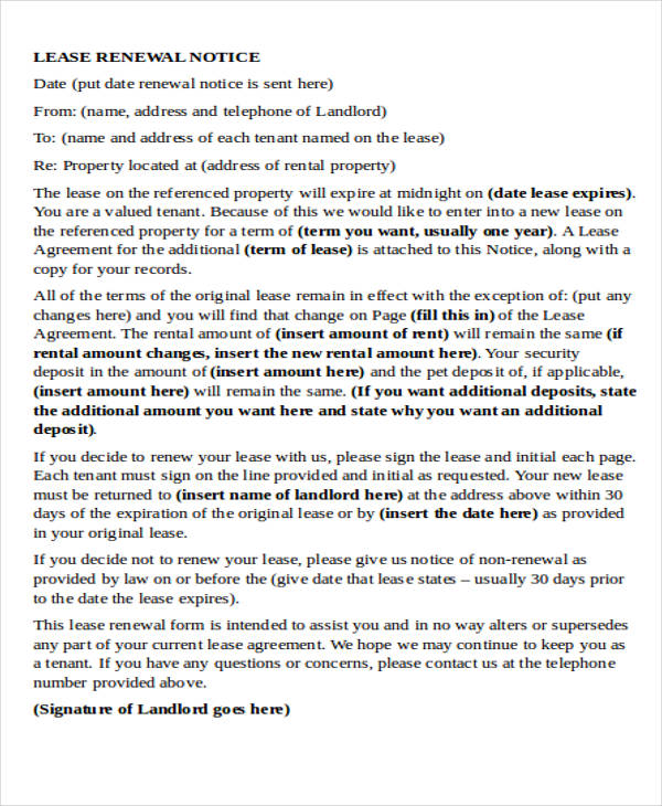 Rent Agreement Renewal Letter