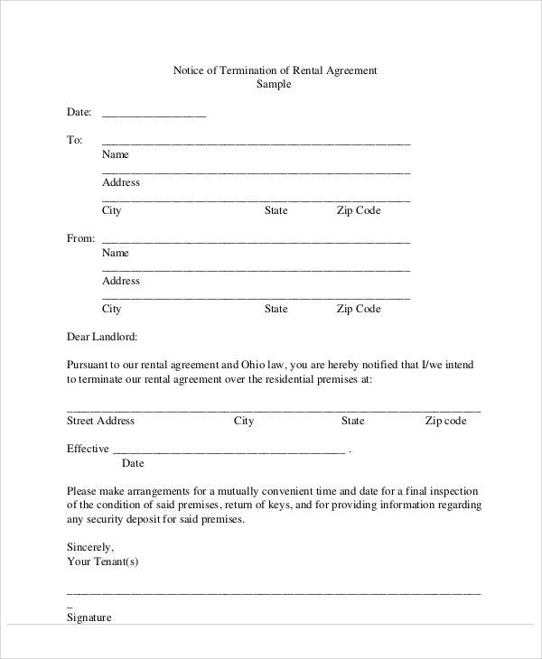 rent agreement termination letter