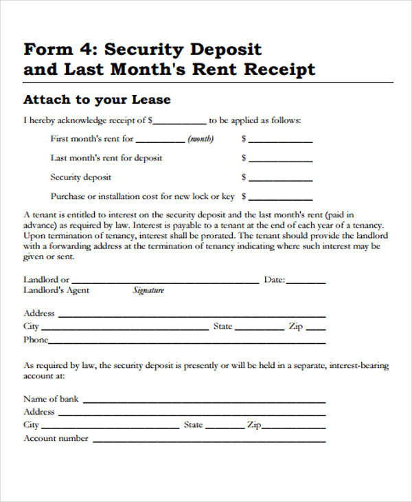 rent deposit receipt form