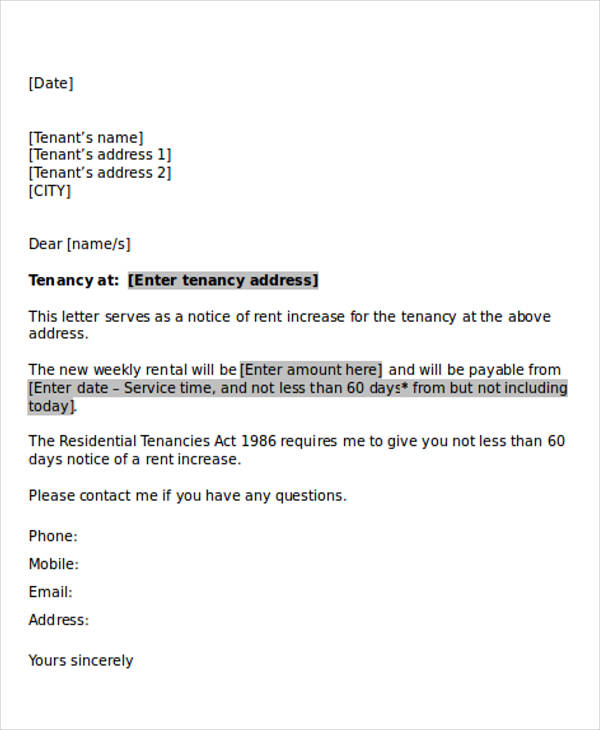 rent increase agreement letter