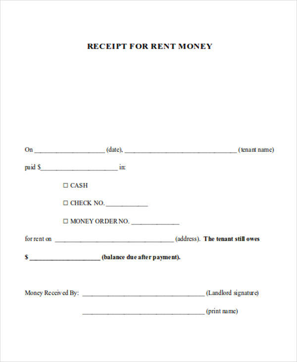 rent money receipt form