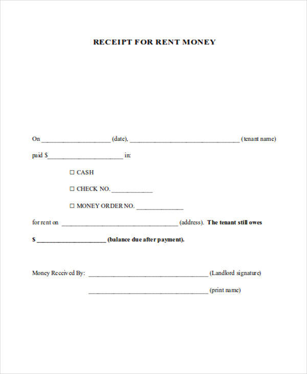 rent payment receipt form