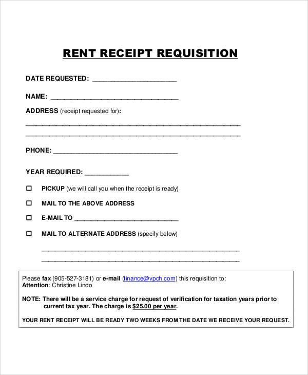 rent receipt requisition form