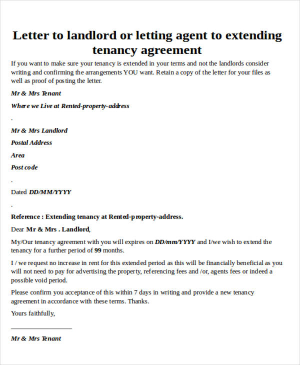 Rental Agreement Extension Letter