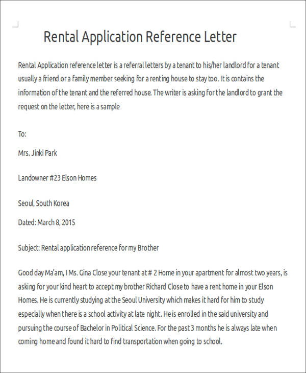 Sample Rental Reference Letter   Examples In Pdf Word